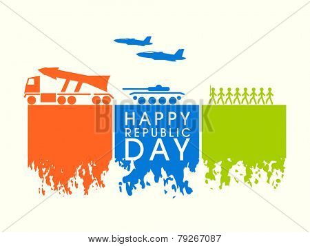 Happy Indian Republic Day celebration with Indian Force strength, artillery gun, missile and airplane in national flag colors.