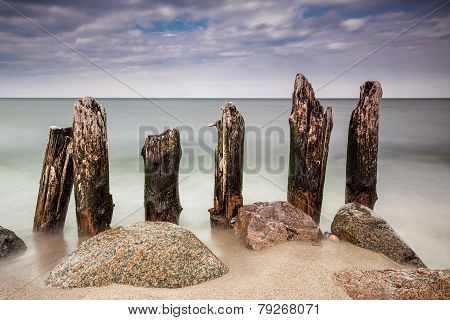 Groynes On The Baltic Sea