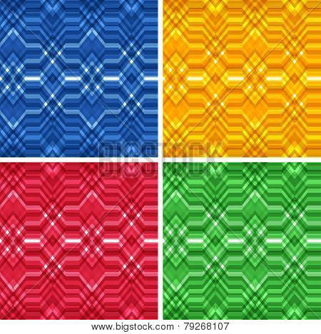 Set of Seamless Color Abstract Retro Vector Backgrounds