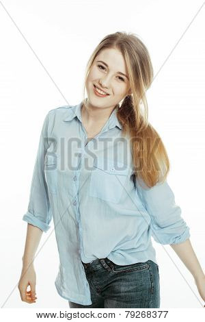 cute young woman making cheerful faces on white background