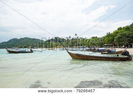 Traditional Longtail Boat In Bay On Phi Phi Island, Krabi,thailand Beach, Phuket