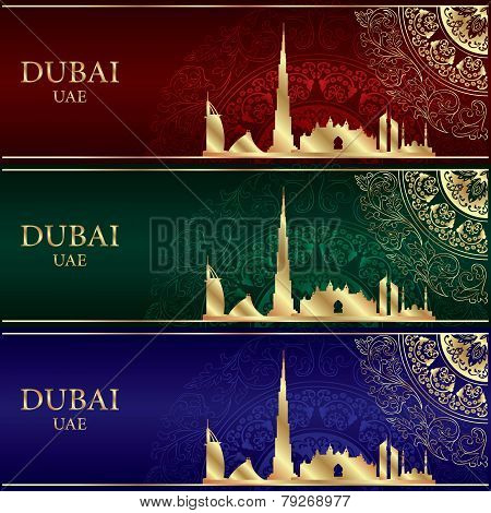 Set Of Dubai Skyline Silhouette On Vintage Background