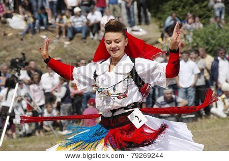 LEPUSHE, ALBANIA - AUGUST, 11: a competitor to