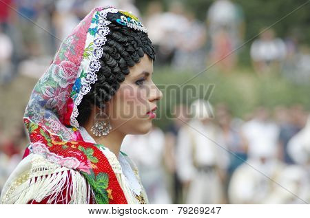 LEPUSHE, ALBANIA - AUGUST, 11: profile portrait competitor to