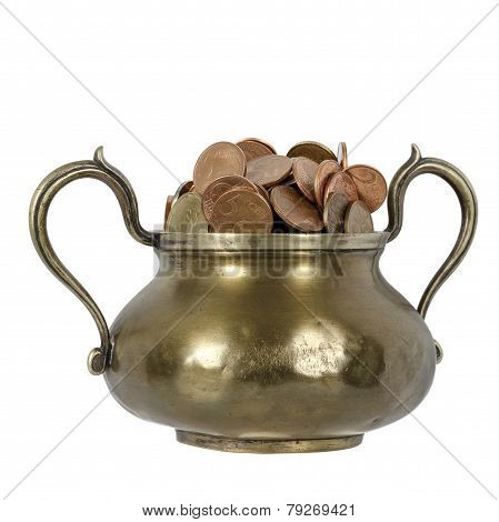Various Coins In Brass Goblet