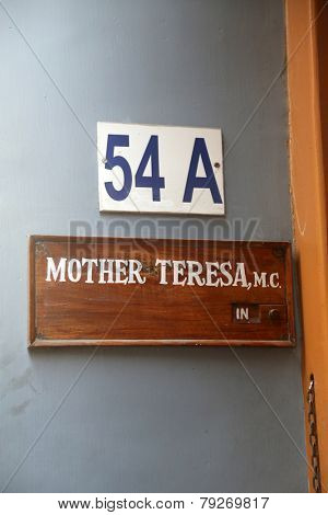KOLKATA,INDIA - FEBRUARY 07: Sign on the entrance to Mother House, the residence of Mother Teresa in Kolkata, West Bengal, India on February 07,2014.