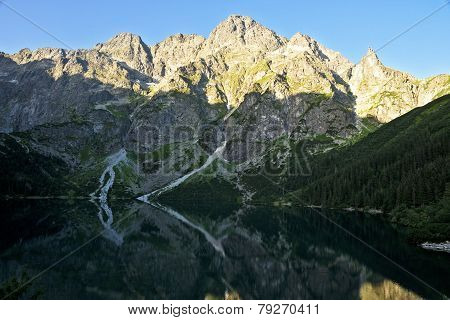 Miguszowickie Great Peaks In The Polish Tatra Mountains On The Lake