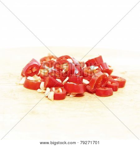Chipped Fresh Red Cayenne Peppers