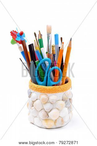 Pencils, Brushes, Plastic Knife, Scissors In Handmade Pencil-box