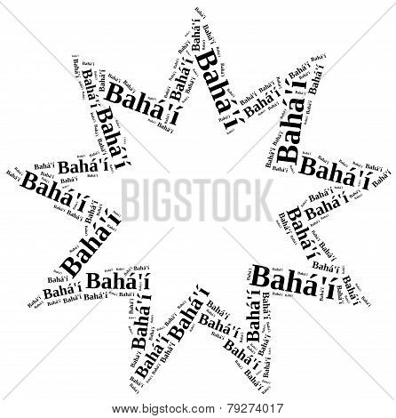Symbol Of Bahai Religion. Word Cloud Illustration.