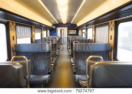 GENEVA - SEP 11: modern train interior on September 11, 2014 in Geneva, Switzerland. Geneva is the second most populous city in Switzerland and is the most populous city of Romandy
