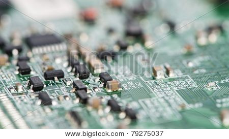 Pcb With Different Components (close-up Shot)