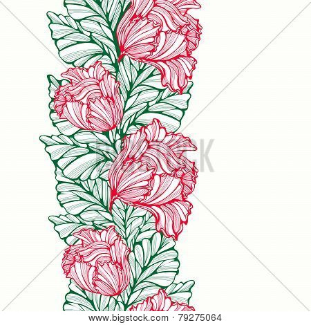 Vertical Seamless Pattern With Tulips And Leaves