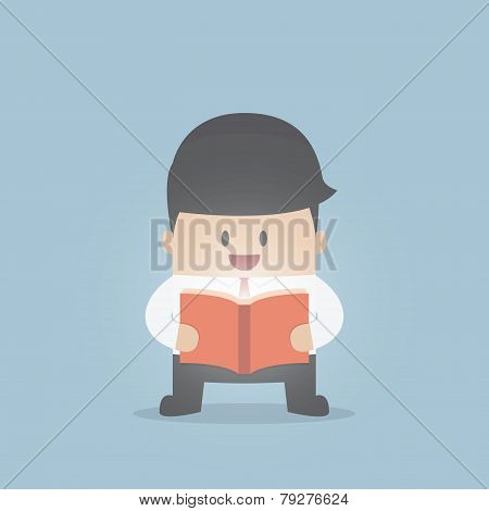 Businessman Reading The Shining Book