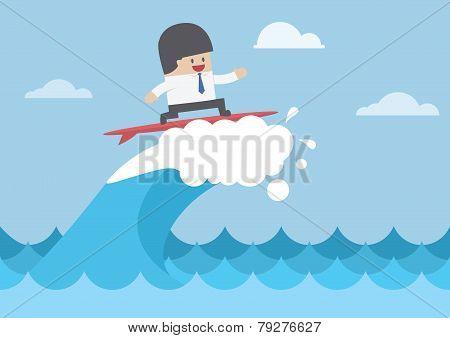 Businessman Surfing On Wave, Business Concept