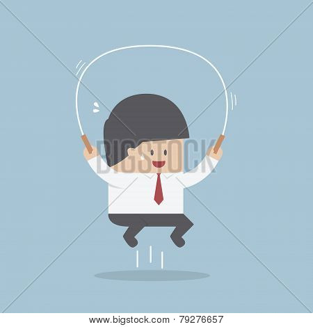 Businessman Jumping Rope, Business Training Concept