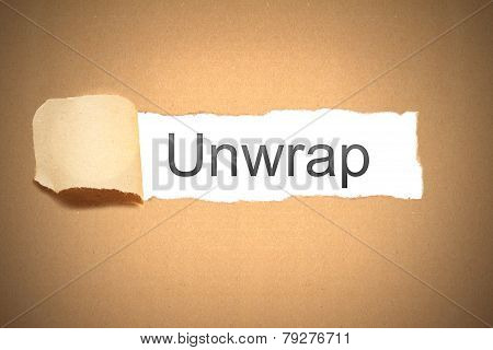 Brown Paper Torn To Reveal Unwrap