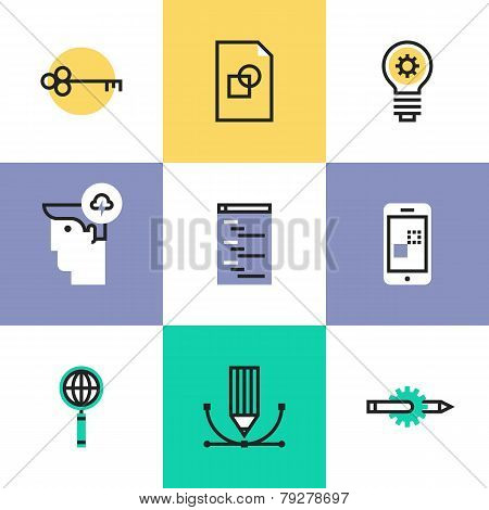Web And Mobile Development Pictogram Icons Set
