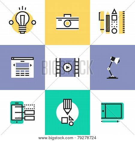 Web And Graphic Design Pictogram Icons Set