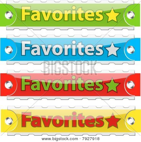 Vector glossy favorites tag buttons.