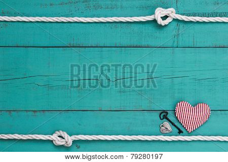Blank blue sign with rope border, red heart, iron key and silver lock