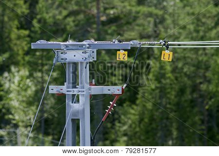 Close-up on a overhead line for a railroad.