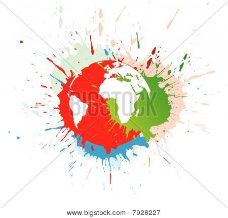 abstract grunge globe in ink spate,