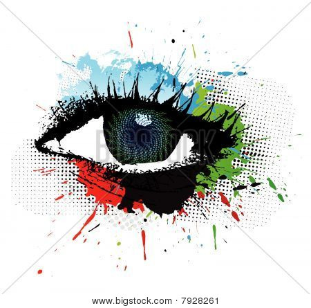 abstract grunge design of beautiful human eye