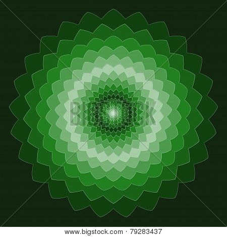 Ornamental Geometric Hand-drawing Bright Green Spectral Colored Vector Background