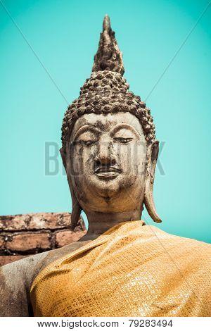 Buddha Statue Portrait Wat Yai Chai Mongkhon Ayutthaya Bangkok Thailand