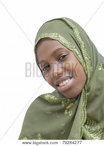 Young beauty wearing an embroidered veil, isolated