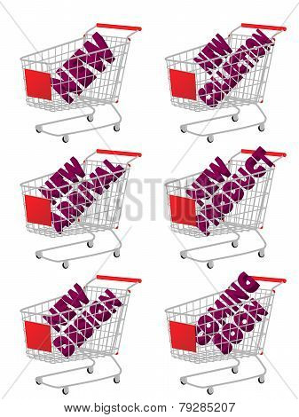 Red 3D Shopping Cart With New Arrivals Texts