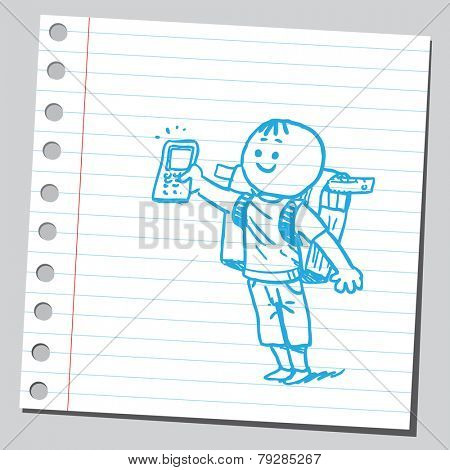 Happy schoolkid with cell phone