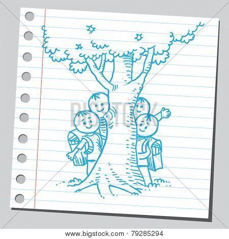 Schoolkids behind tree