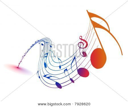 Music notes with rainbow wave line for design use
