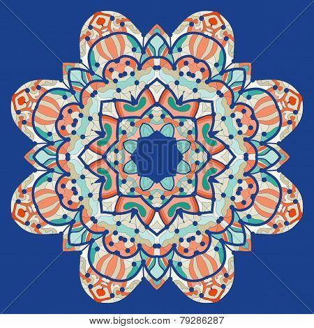 Ornamental colorful mandala. Vector square flyer card design. Invitation card. Vintage decorative el