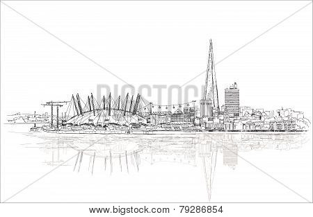 PrintLondon sketch illustration with Shard of glass and river Thames