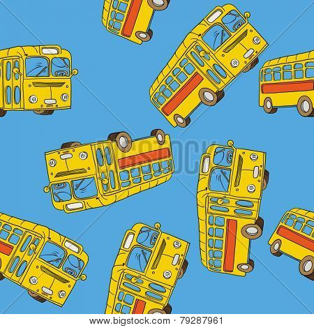 school bus seamless pattern cartoon illustration