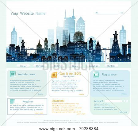 Web page template with capital illustration