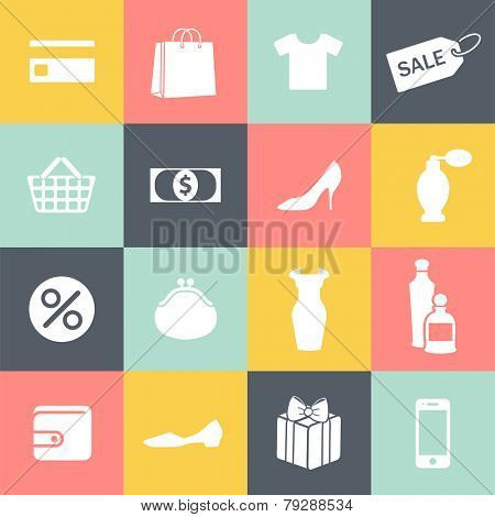 set of monochrome shopping icons