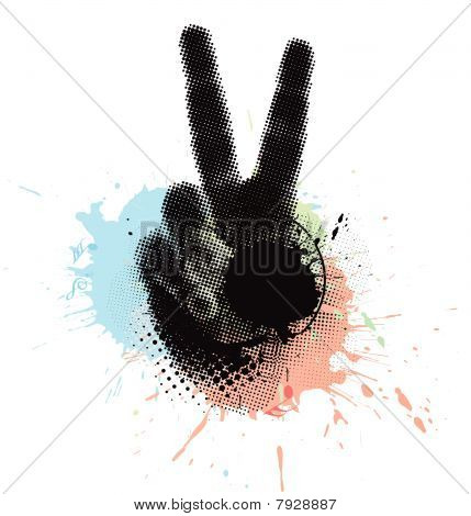 abstract grunge victory hand sign