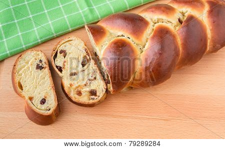 Braided Bread With Fruits And Nuts.