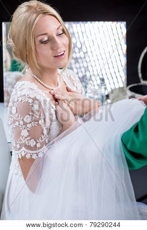 Woman Wearing Bridal Gown