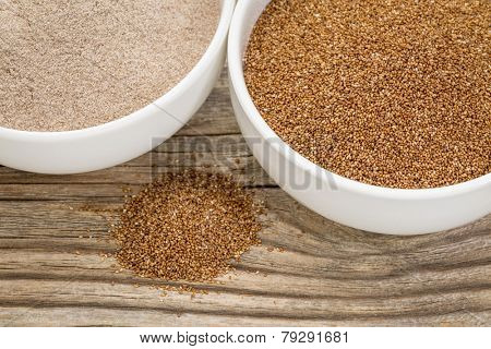 teff grain and flour in small ceramic bowls against grained wood background