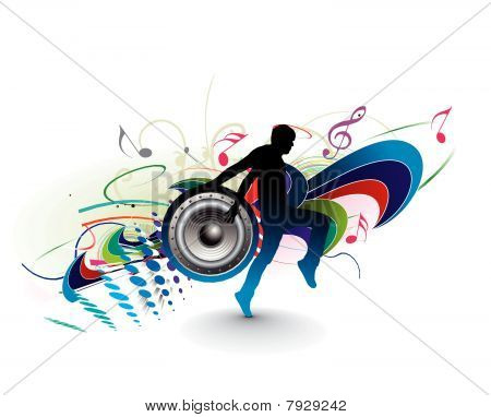silhouetted a young man enjoy music in floral wave background