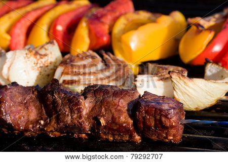 Shish-ka-bob on the grill