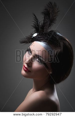 Retro portrait of woman with clock