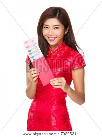 Chinese woman hold with red lucky money with RMB
