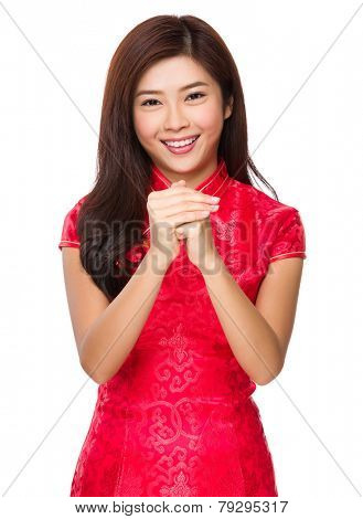 Chinese woman with celebrate gesture
