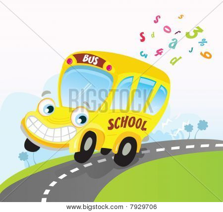 Yellow School Bus On Road